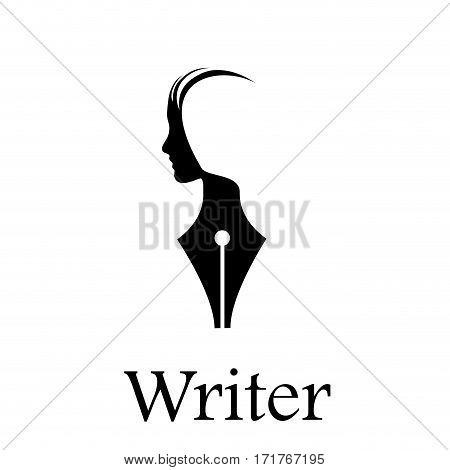 Vector sign writer. Fountain pen head of a person