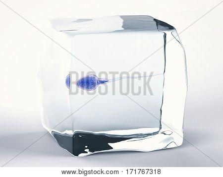 3d rendering frozen sperm for sperm bank