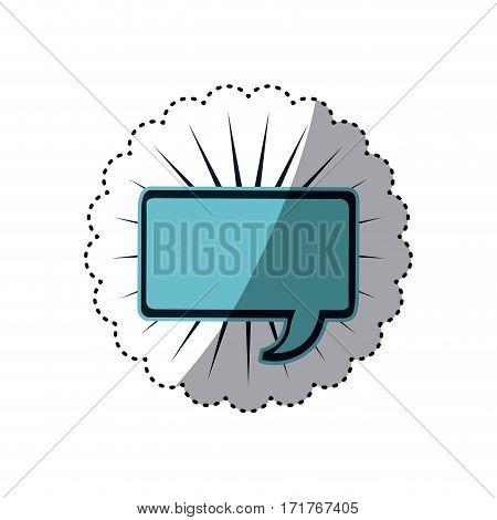 blue sticker rectangle shape dialog box with lines around vector illustration