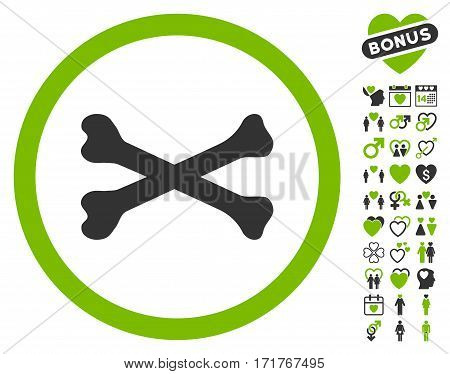Bones Cross pictograph with bonus passion pictograms. Vector illustration style is flat iconic eco green and gray symbols on white background.
