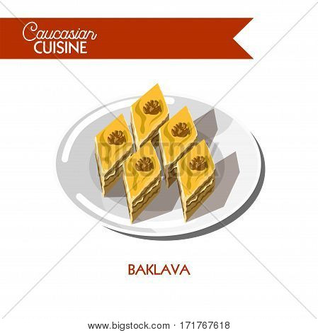 Baklava pastry of Caucasian cuisine or kitchen. Vector icon sign for Georgian, Armenian or Azerbaijani restaurant cafe menu. Traditional dessert cake of filo gough layers