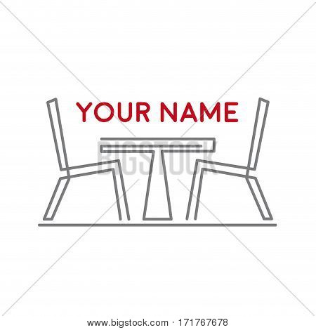 Vector sign stylized chairs and table. Bar and restaurant concept