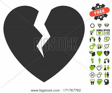 Broken Heart pictograph with bonus amour pictures. Vector illustration style is flat iconic eco green and gray symbols on white background.