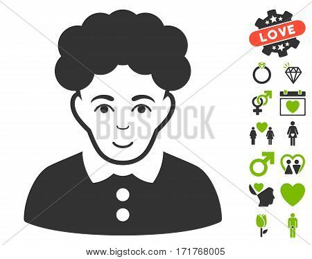 Brunette Woman icon with bonus passion pictograms. Vector illustration style is flat iconic eco green and gray symbols on white background.