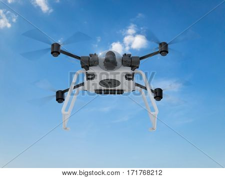 3d rendering white drone with spinning propellers