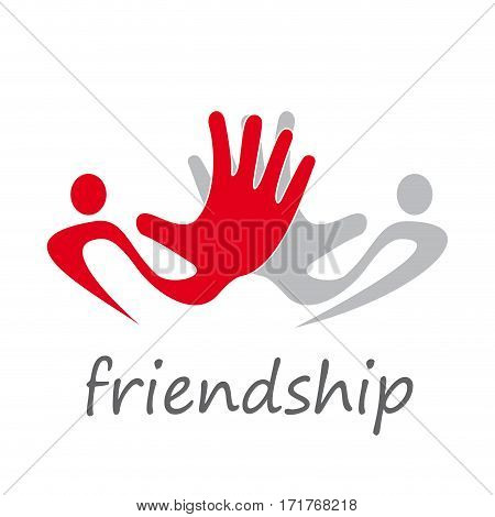 Vector abstract solidarity hands touching, isolated illustration