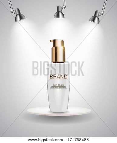 Skin Toner Bottle Tube Template for Ads or Magazine Background. 3D Realistic Vector Iillustration. EPS10