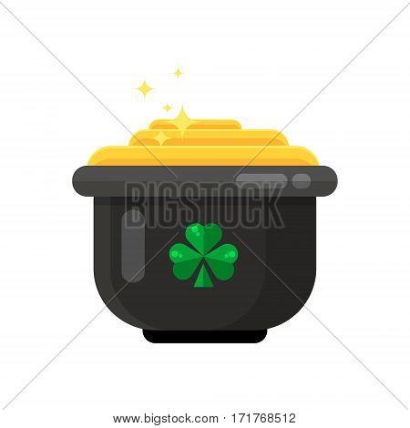 Leprechaun Pot Of Gold Icon In Flat Style Design. Irish St. Patrick Day Symbol Of Luck. Lucky Treasu