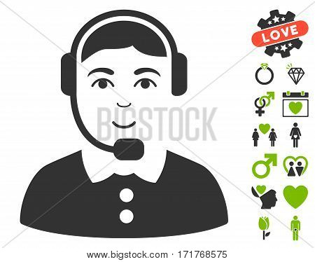 Call Center Operator icon with bonus amour pictures. Vector illustration style is flat iconic eco green and gray symbols on white background.