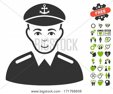 Captain icon with bonus amour pictures. Vector illustration style is flat iconic eco green and gray symbols on white background.