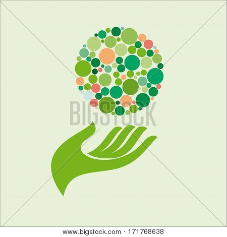 Vector sign friendly environment, isolated illustration on green
