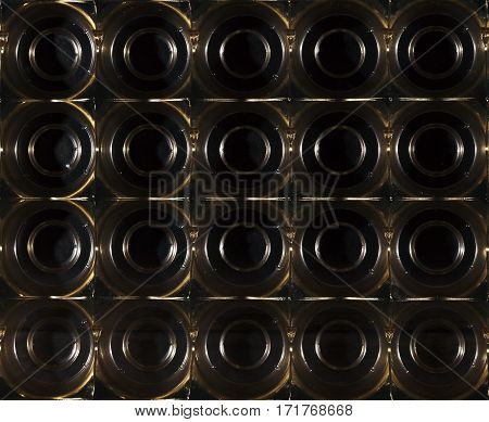 Bubble wrapped background in plastic in brown color.