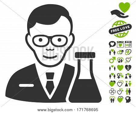 Chemist icon with bonus romantic images. Vector illustration style is flat iconic eco green and gray symbols on white background.