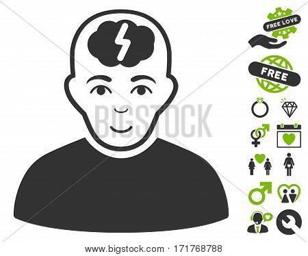 Clever Boy pictograph with bonus valentine pictograms. Vector illustration style is flat iconic eco green and gray symbols on white background.