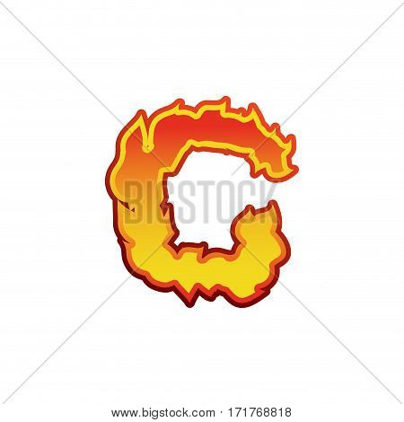 Letter C Fire. Flames Font Lettering. Tattoo Alphabet Character. Fiery Sign Alphabet