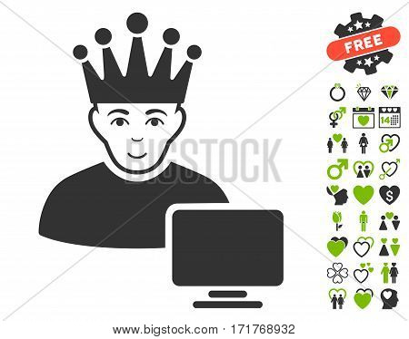 Computer Moderator pictograph with bonus romantic images. Vector illustration style is flat iconic eco green and gray symbols on white background.