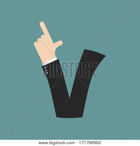 V Letter Businessman Hand Font. It Shows Finger Print. Arm Symbol Alphabet. Sign Of Abc