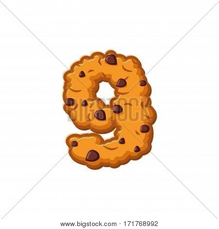 Number 9 Cookies Font. Oatmeal Biscuit Alphabet Symbol Nine. Food Sign Abc