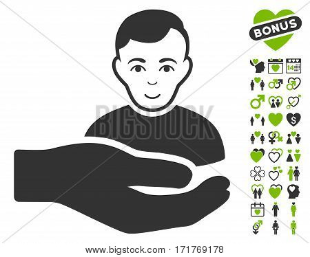 Customer Support Hand icon with bonus amour images. Vector illustration style is flat iconic eco green and gray symbols on white background.
