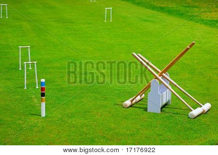Croquet Set On Bright Green Grass