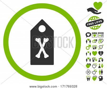 Dead Marker icon with bonus amour pictograms. Vector illustration style is flat iconic eco green and gray symbols on white background.