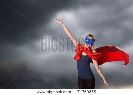 Smiling Courage Woman In Superhero Costume.