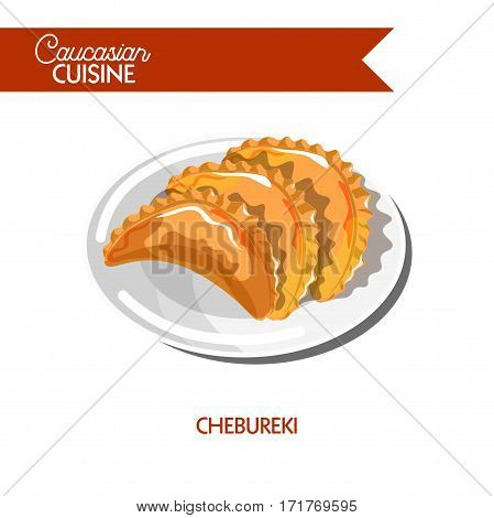 Chebureki of Caucasian cuisine or kitchen. Vector icon sign for Georgian, Armenian or Azerbaijani restaurant cafe menu. Traditional deep fried pie with meat filling