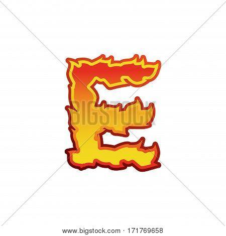 Letter E Fire. Flames Font Lettering. Tattoo Alphabet Character. Fiery Sign Alphabet