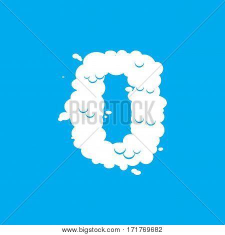 Number 0 Cloud Font Symbol. White Alphabet Sign Zero On Blue Sky