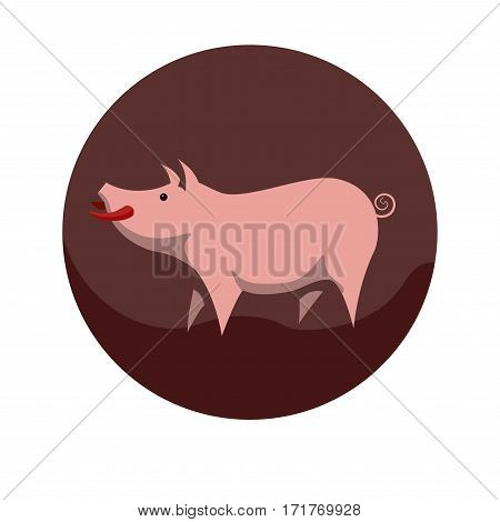 Chinese zodiac sign Pig. Symbol of Eastern Asian horoscope or lunar calendar element. Vector round icon illustration