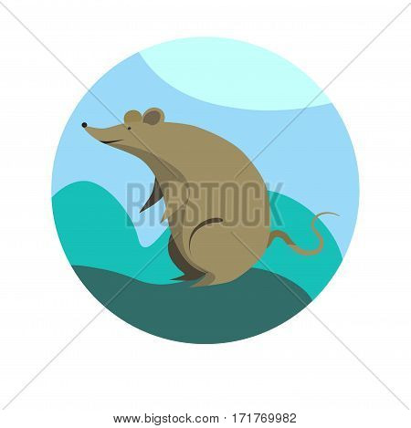 Chinese zodiac sign Rat. Symbol of Eastern Asian horoscope or lunar calendar element. Vector round icon illustration
