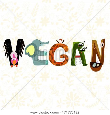 Hand-sketched Typographic Element. Vegan.text For T-shirt, Fashion, Prints - Stock Vector