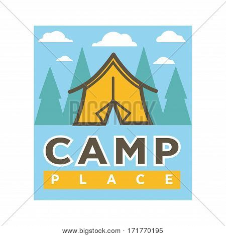 Camp tent in forest. Camping place isolated vector flat icon for nature outdoor trip or scout forest tour adventure