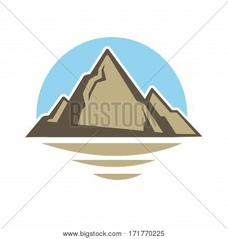 Mountain rock icon in desert. Vector Alpine mount peak emblem for camping adventure, climbing extreme sport, mountaineering, skiing or snowboarding