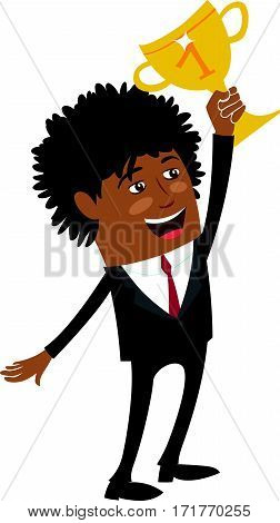 Funny Confident black business man wearing suit hold winner cup and smile. Flat style design set. Vector Illustration.