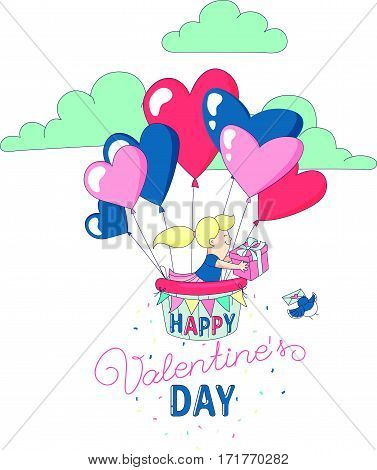 Happy Valentine's Day party greeting card invitation funny girl character flying with hot air heart balloons holding present. Line flat design kid's style. Vector illustration.
