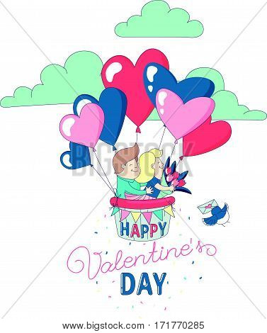 Happy Valentine's Day party greeting card invitation funny boy and girl characters couple in love flying with hot air heart balloons. Line flat design kid's style. Vector illustration.
