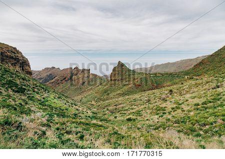 Wonderful Masca valley view from mirador Altos de Baracan Tenerife Spain