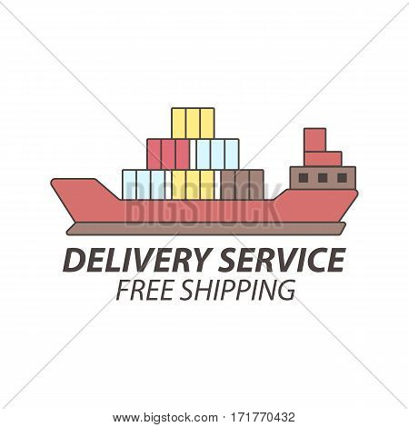 Delivery or express shipping service vector icon. Ship with goods freight. Isolated flat element template for service logo or shipment logistics infographics
