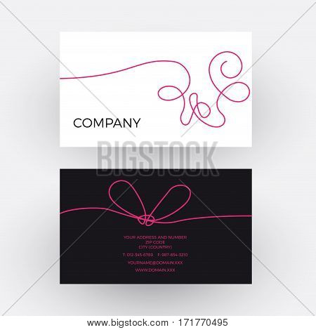 Vector abstract woolen thread. Business card, isolated illustration
