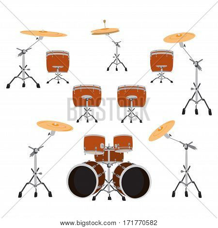 Drum set. Vector illustration of drums isolated on a white background