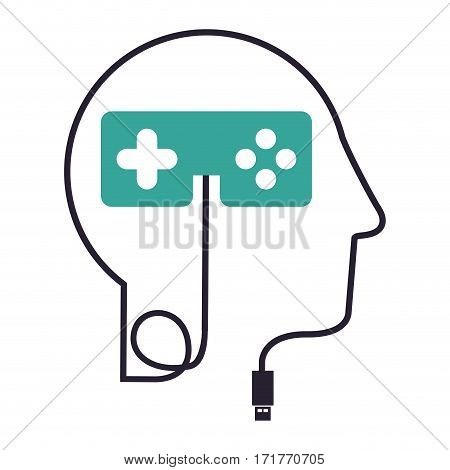 silhouette profile human head with usb connector and control video game vector illustration