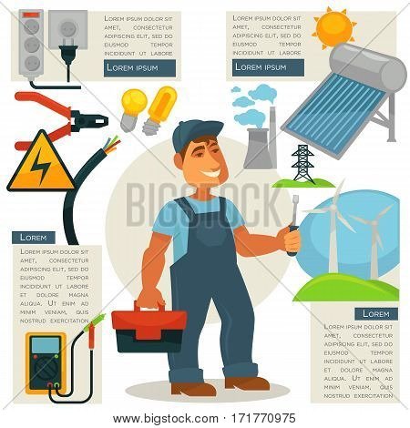 Electrician profession infographics poster template. Electric engineer or electricity repairman worker with work tools ampermeter, screwdriver and voltmeter Vector flat illustration