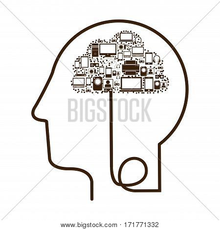 silhouette profile human head with tech device vector illustration