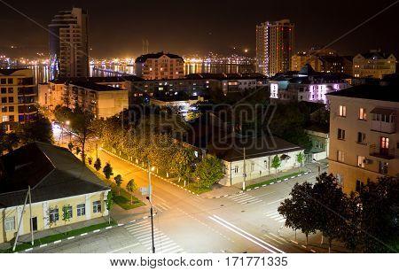 RUSSIA, NOVOROSSIYSK - MAY 8, 2015:Views of Novorossiysk night. Novorossiysk is a major sea port in Russia