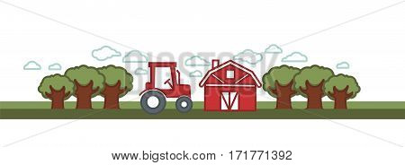 Farming agriculture landscape of farmer tractor or harvest combiner, grain farm barn warehouse and wheat field. Vector rural illustration