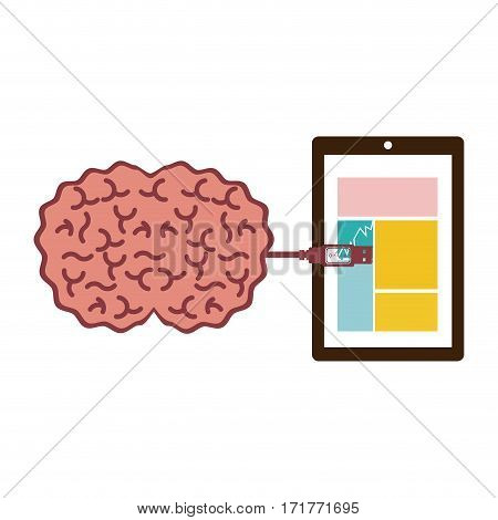 tablet and usb connected to brain vector illustration