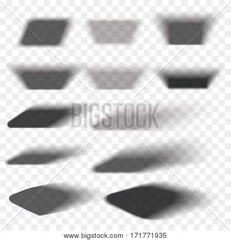 Box shadow set transparent with soft edges isolated on checkered background. Smooth vector under round square.Element for product design