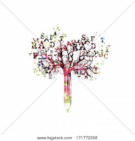 Colorful pencil with treetop and letters vector illustration. Alphabetical design for creative writing, blogging, education, book cover, article and website content writing and copywriting concept