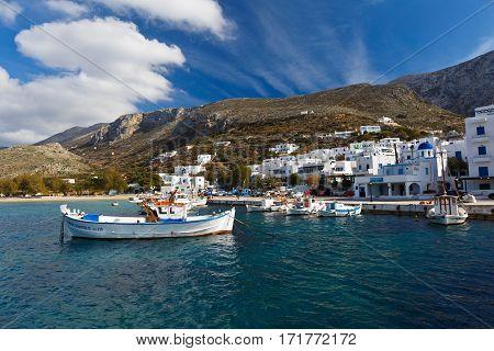 AEGIALI, GREECE - FEBRUARY 01, 2017: Aegiali village as seen from the port, Amorgos island on February 01, 2017.